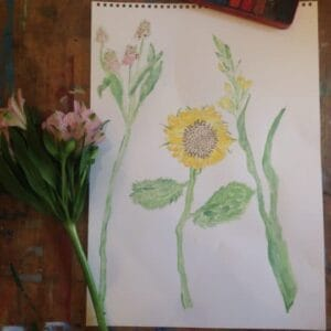 Watercolour drawing by a 9 years old child