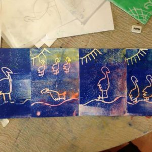 Print making at art club