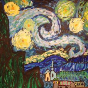 Painting after Van Gogh, by a 9 years old child