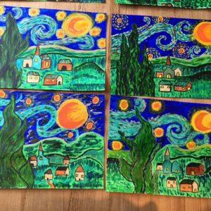 Van Gogh inspired artworks by children