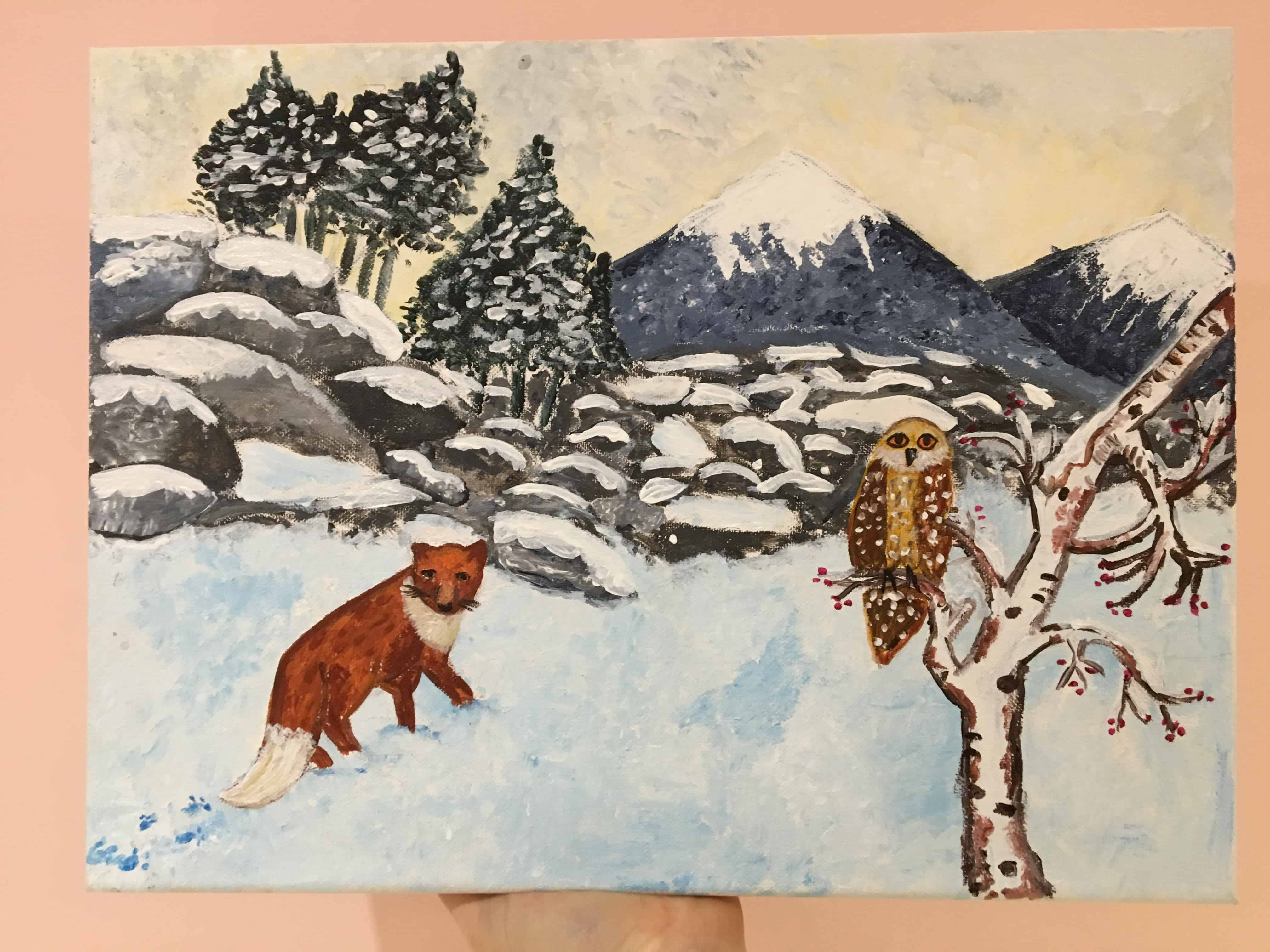 Winter painting by a 9 years old child