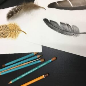 Pencil drawing by a 16 years student, feathers, by Arty Amber
