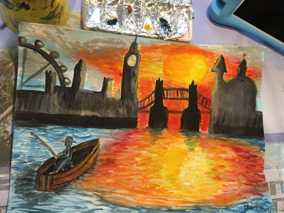Painting by a 9 years old student, by Arty Amber
