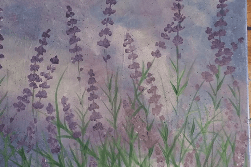 Lavender field painted by adult art student